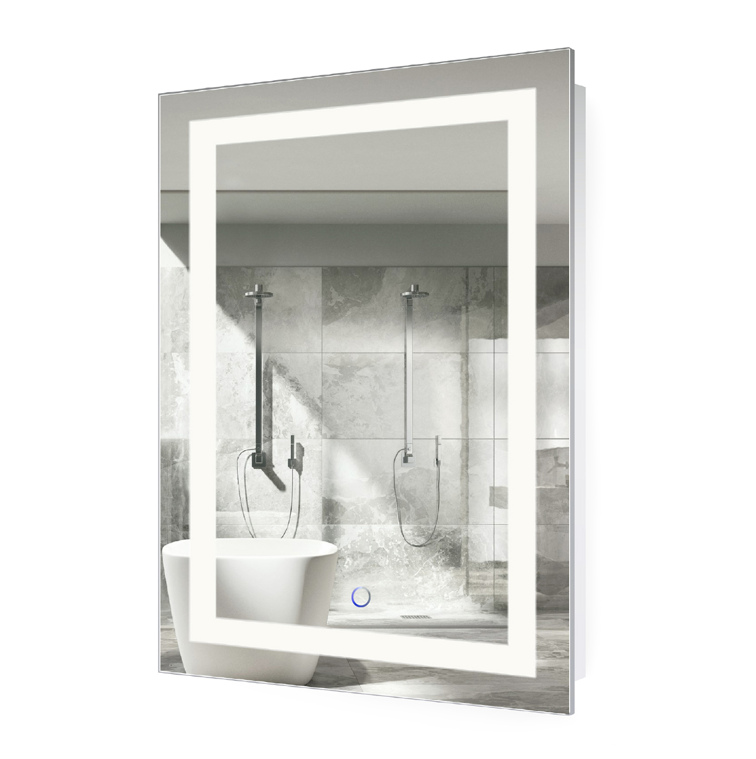 led lighted 24 x36 bathroom mirror with dimmer defogger