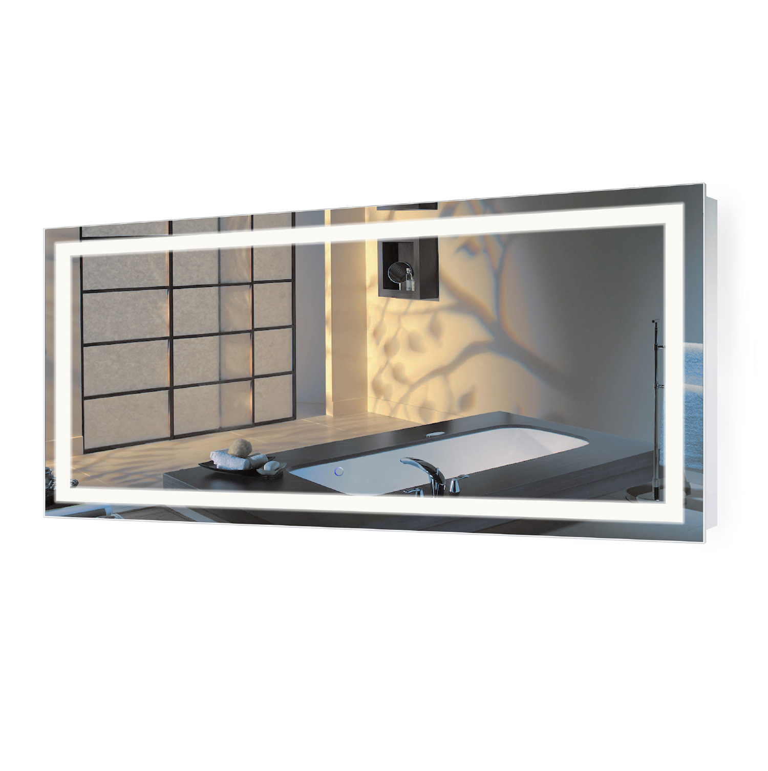 Icon 60″ X 30″ LED Bathroom Mirror  w/ Dimmer & Defogger | Large Lighted Vanity Mirror