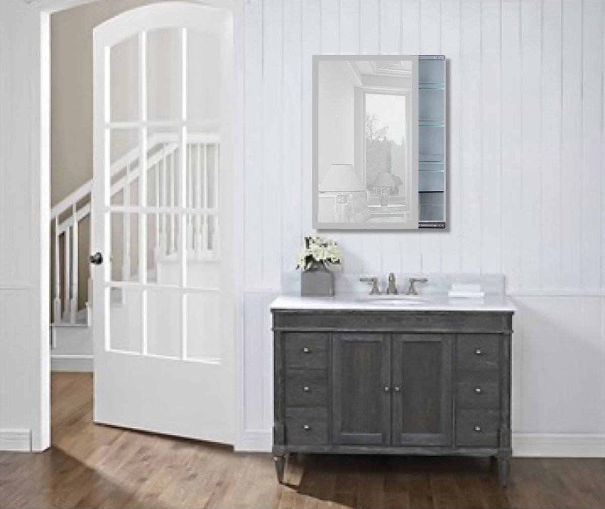 bathroom sliding mirror medicine cabinet w frosted glass bor
