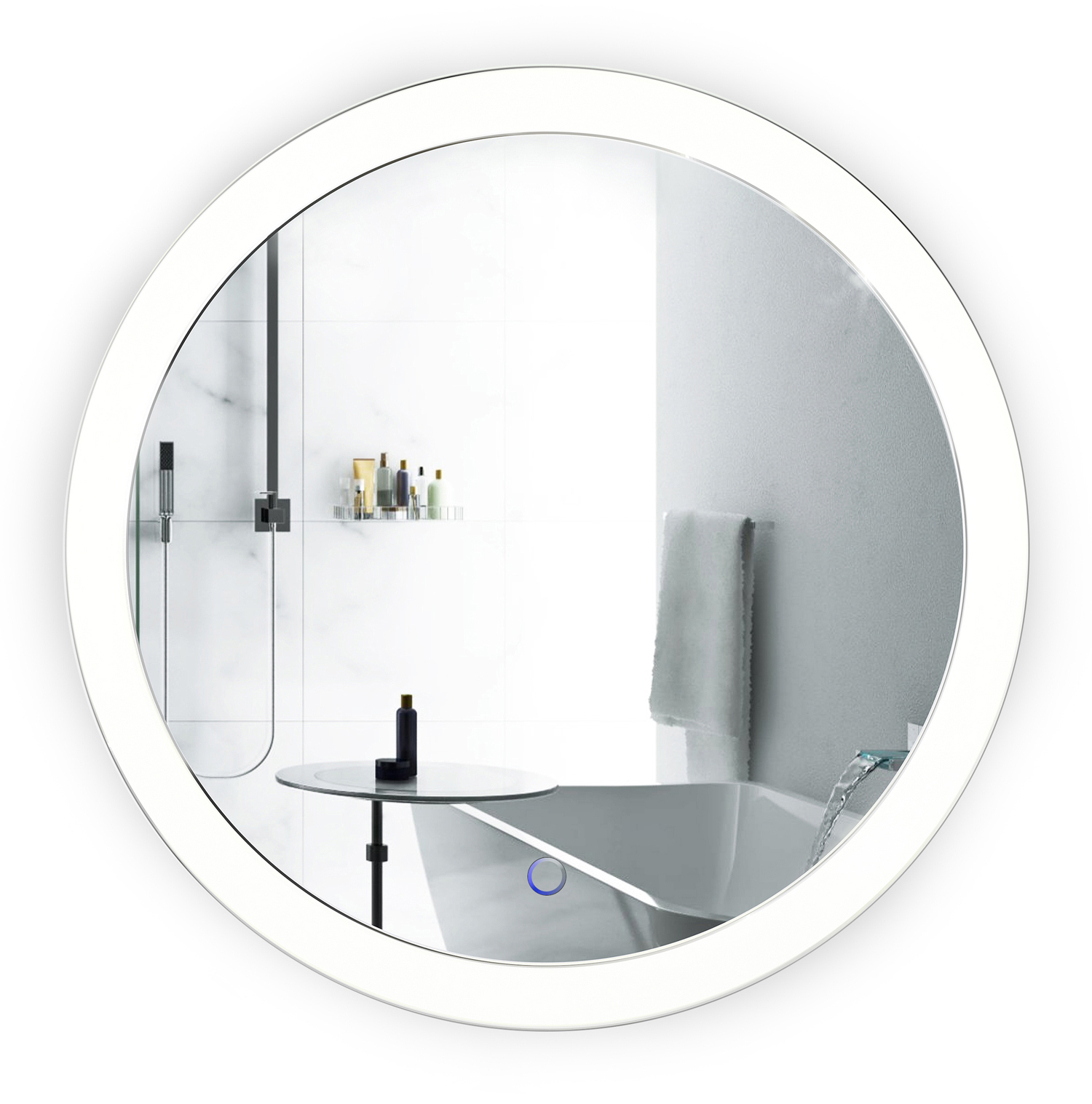 led 22 round bathroom mirror lighted with dimmer. Black Bedroom Furniture Sets. Home Design Ideas