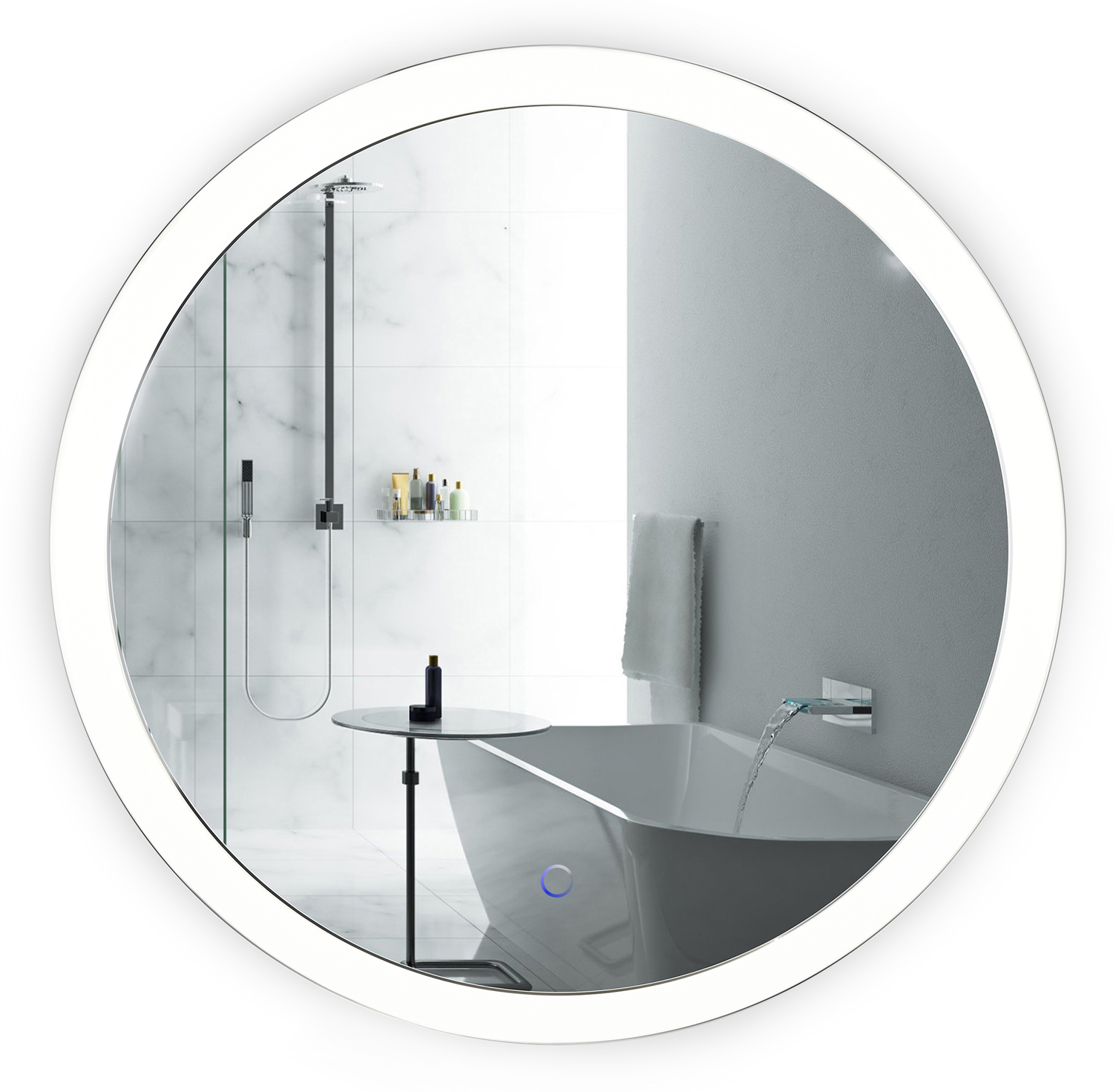 LED 27u2033 Round Bathroom Mirror Lighted With Dimmer U0026 Defogger ...
