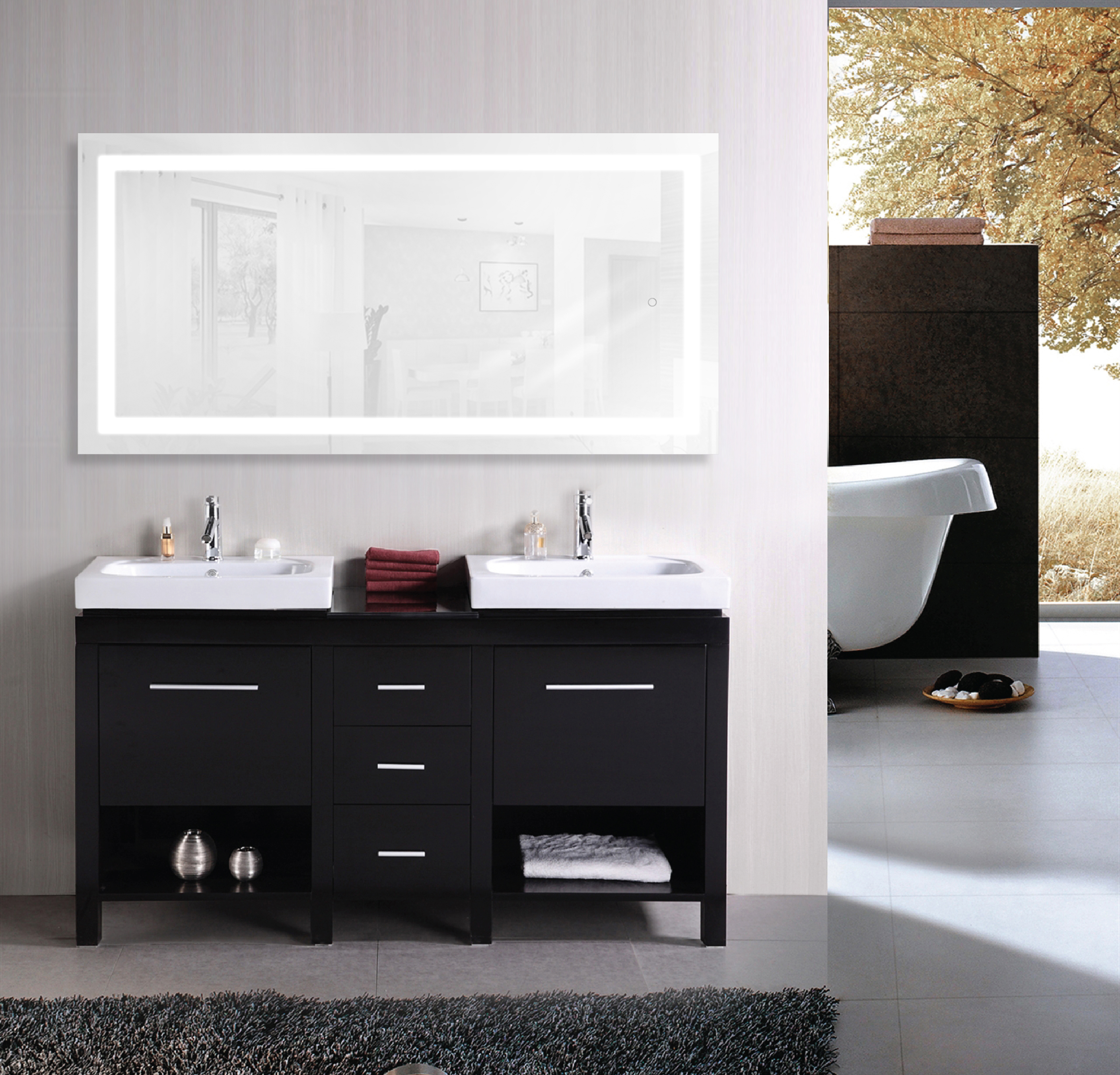 This Lighted bathroom mirror is a true Icon of sleek aesthetic styling and  sophistication. The mirror itself is of the highest quality silver backed  glass ...