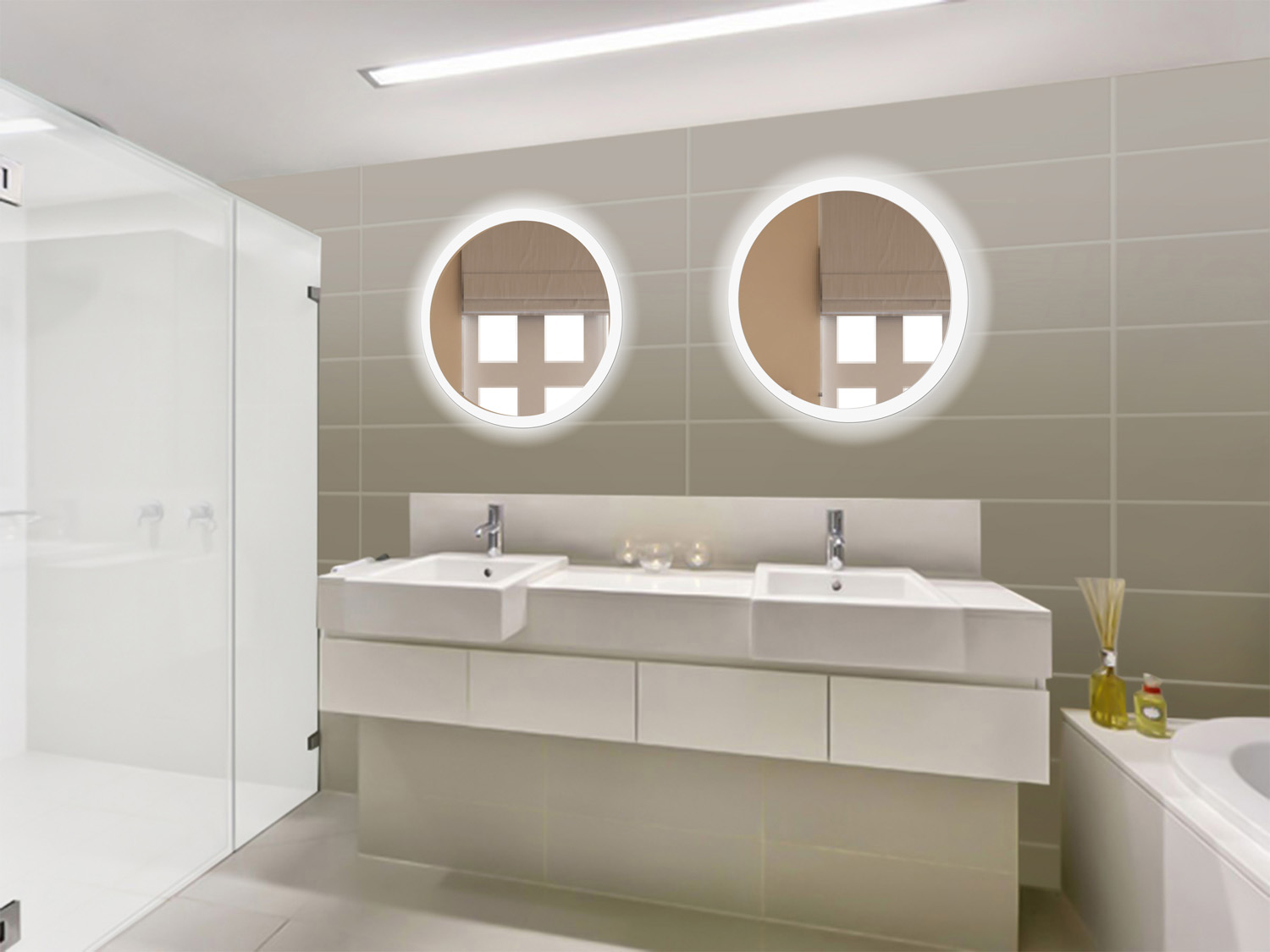 Lighted Mirror Bathroom Buy Bathroom Led Lighted Mirrors Backlit Mirrors Decoraport Usa Led: LED 27″ Round Bathroom Mirror Lighted With Dimmer