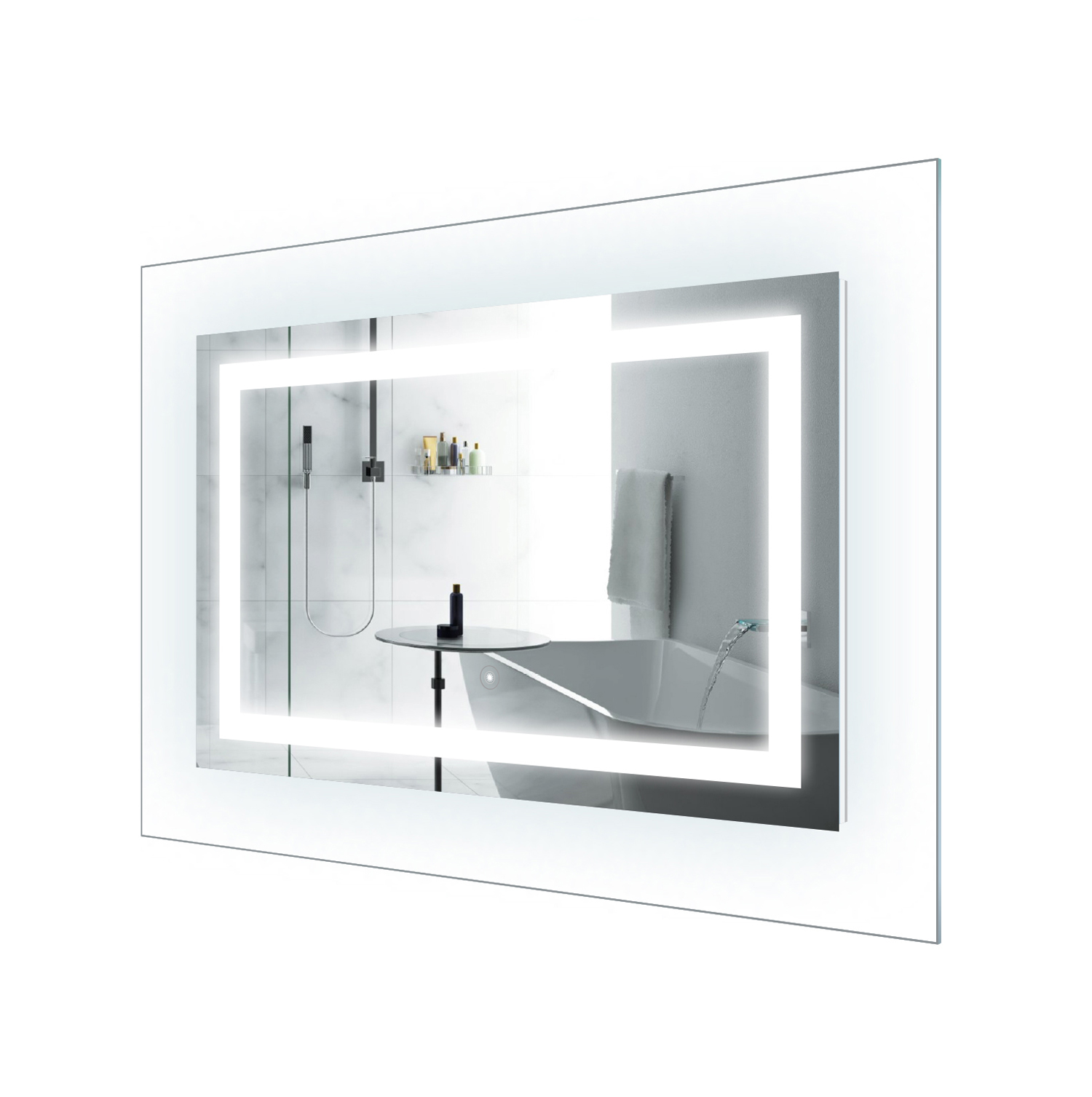 Led Lighted 42 Inch X 30 Inch Bathroom Mirror With Glass Frame Horizontal Or Vertical