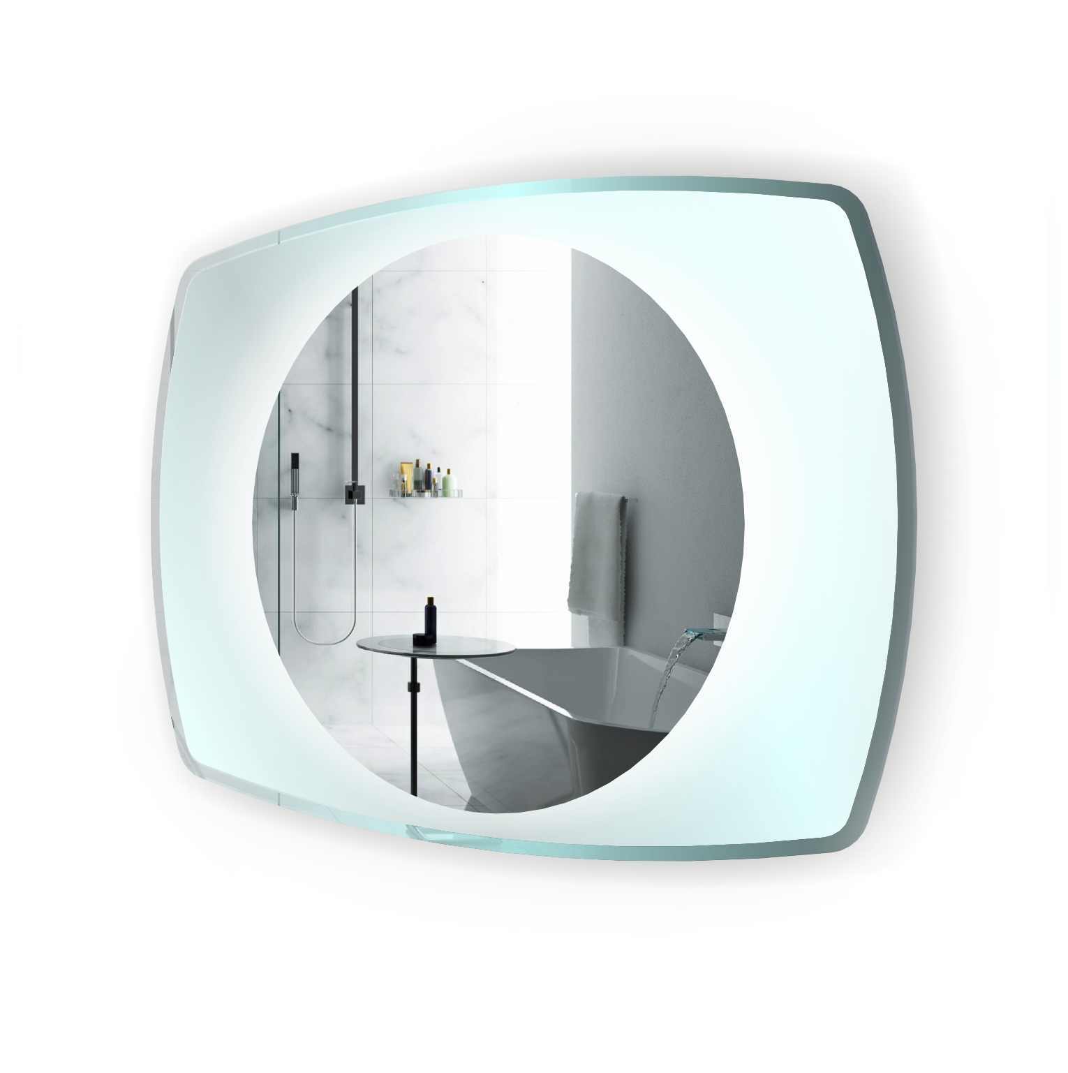 LED Lighted 32 Inch x 24 Inch Bathroom Mirror With Glass Frame