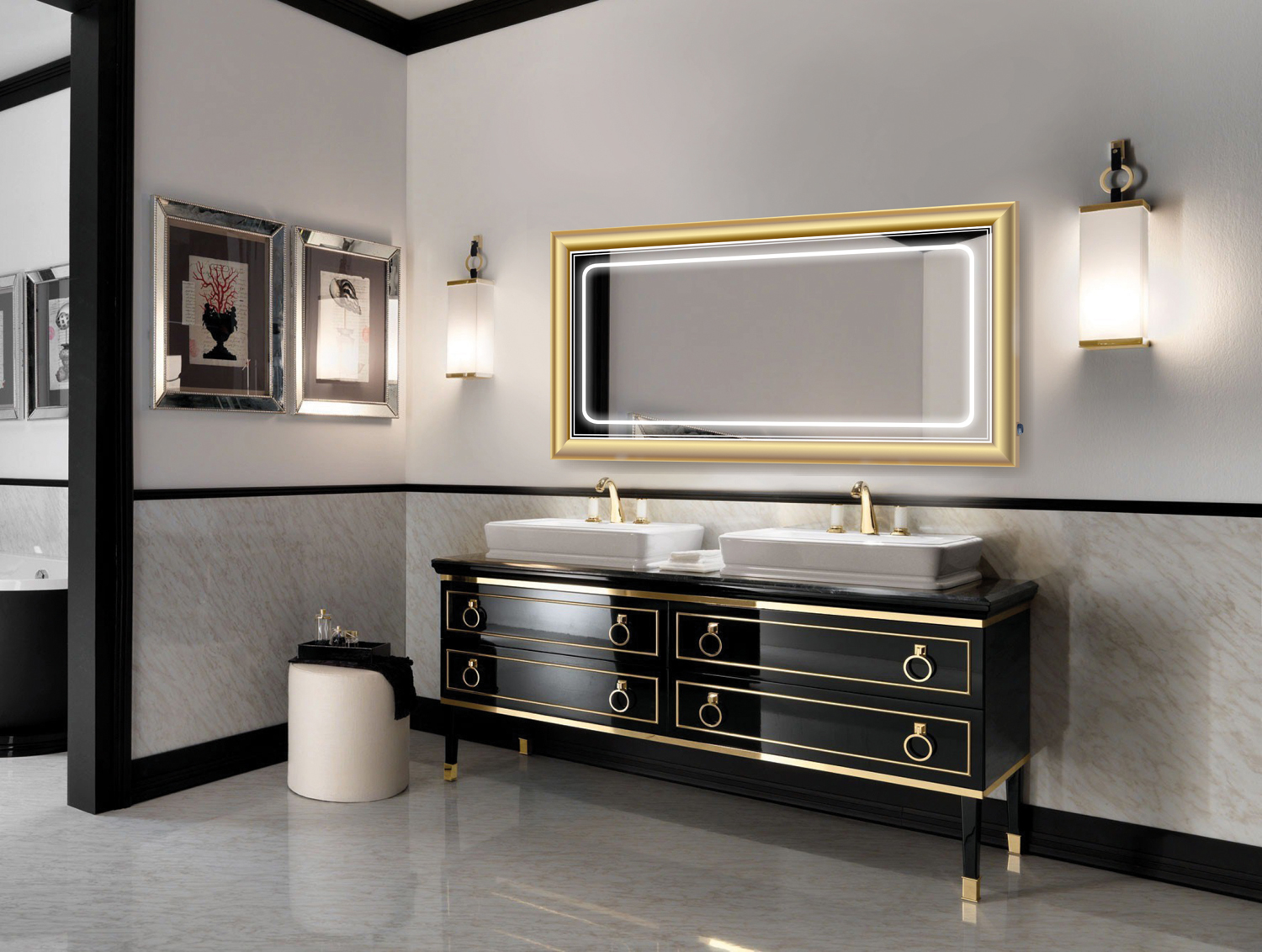 Lighted Mirror Bathroom Buy Bathroom Led Lighted Mirrors Backlit Mirrors Decoraport Usa Led: LED Lighted 60 Inch X 30 Inch Bathroom Gold Frame Mirror
