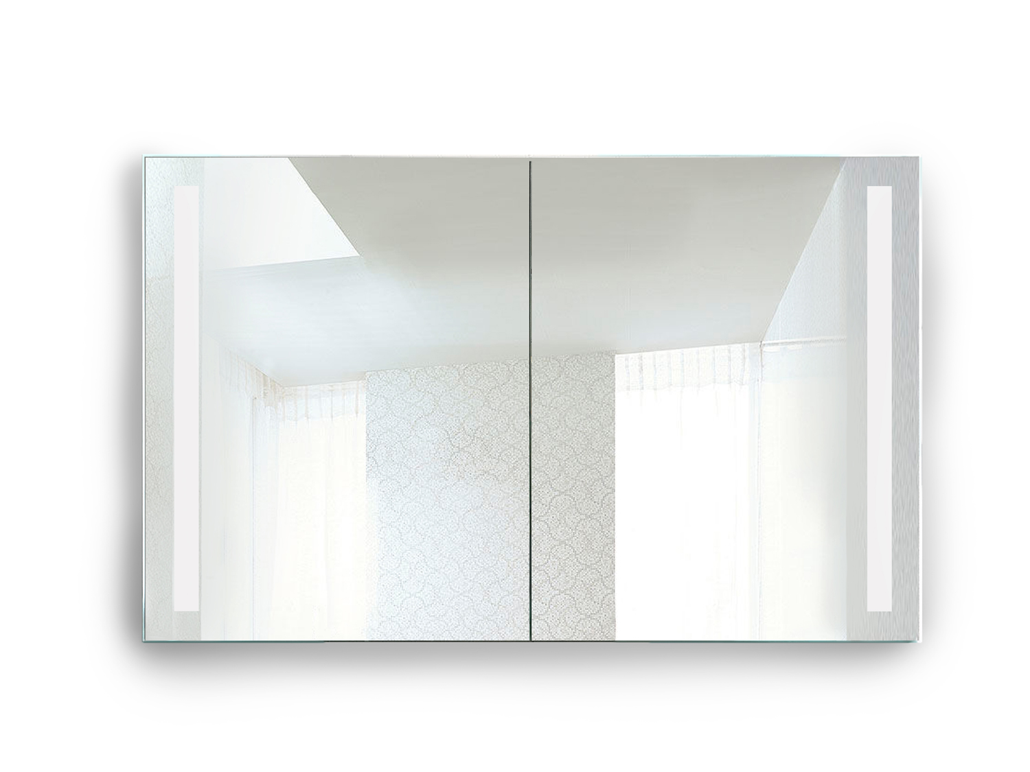 Rolls Sliding Led Medicine Cabinet 48 X 30 W Dimmer Amp Defogger Lighted 2 Sliding Mirror