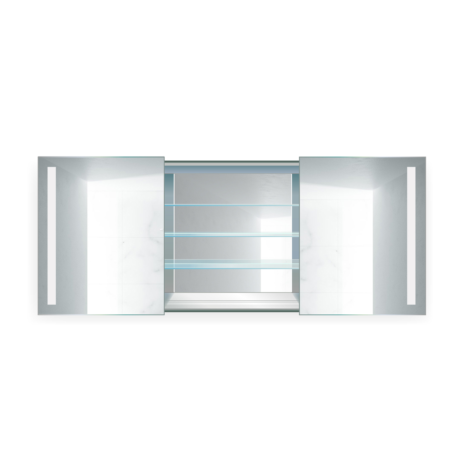 Rolls Sliding LED Medicine Cabinet 48″ X 30″ w/Dimmer & Defogger | Lighted 2 Sliding Mirror Doors