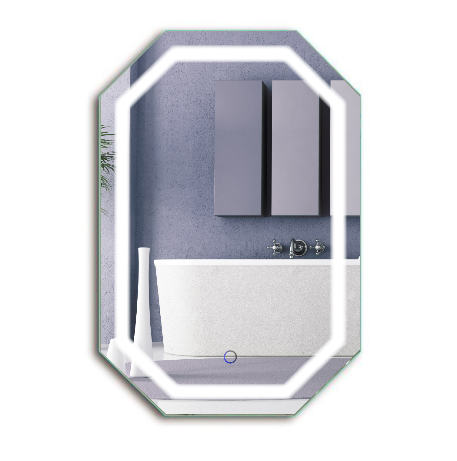 Led octagon 20 x30 bathroom mirror lighted mirror for Mirror 20 x 30