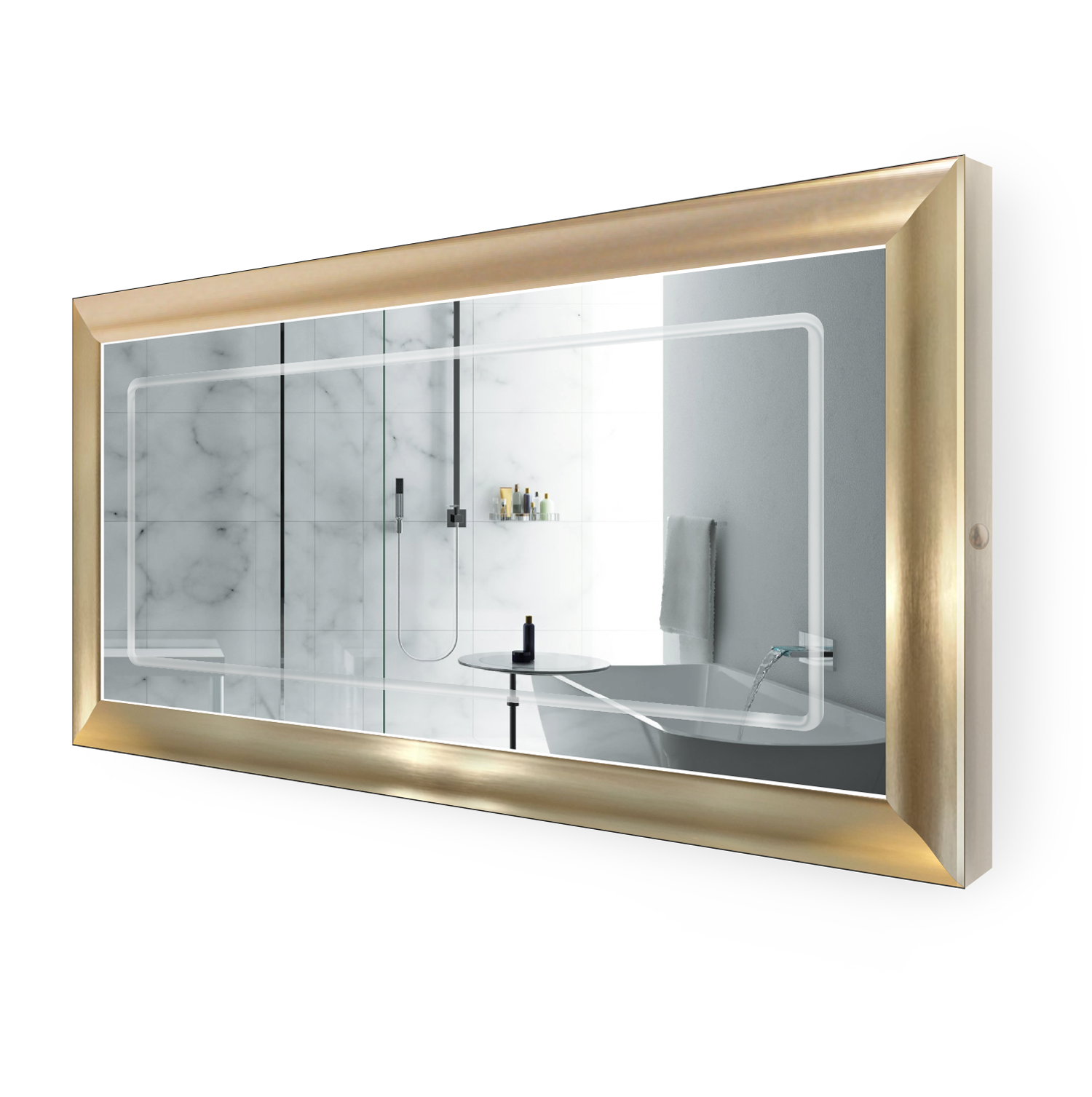 LED Lighted 60 Inch x 30 Inch Bathroom Gold Frame Mirror with Defogger