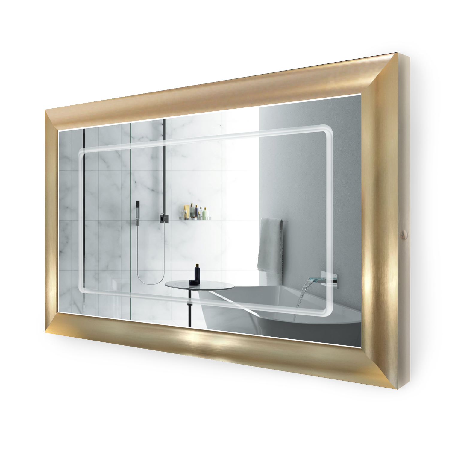 Led Lighted 48 Inch X 30 Inch Bathroom Gold Frame Mirror With Defogger Krugg Reflections Usa