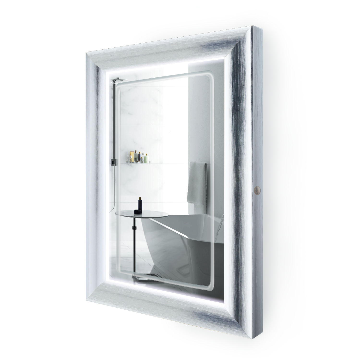 LED Lighted 24 Inch x 36 Inch Bathroom Silver Frame Mirror with Defogger