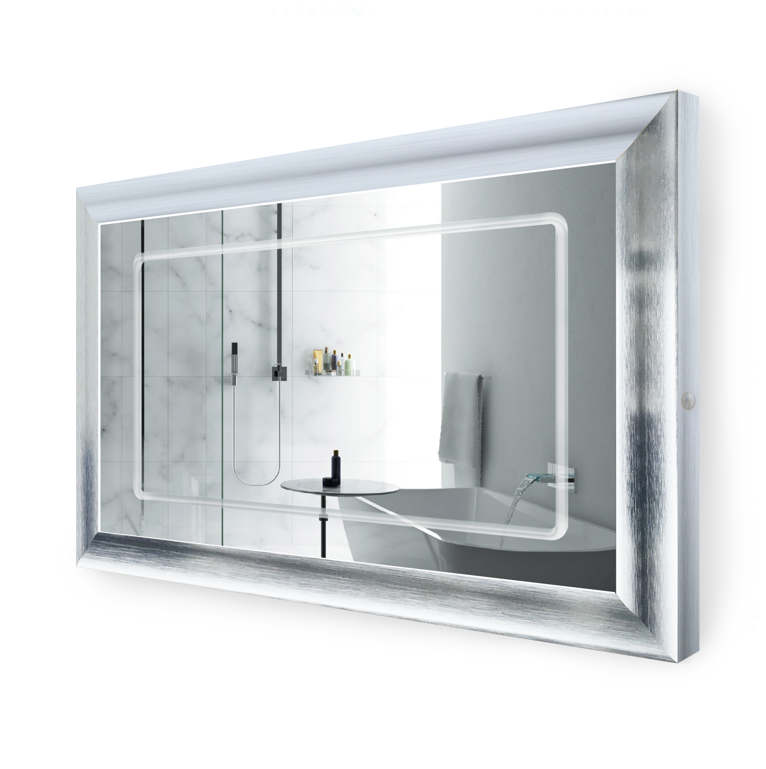 LED Lighted 48 Inch x 30 Inch Bathroom Silver Frame Mirror with Defogger