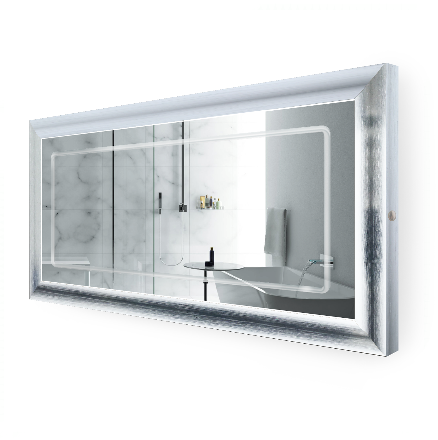 LED Lighted 60 Inch x 30 Inch Bathroom Silver Frame Mirror with Defogger