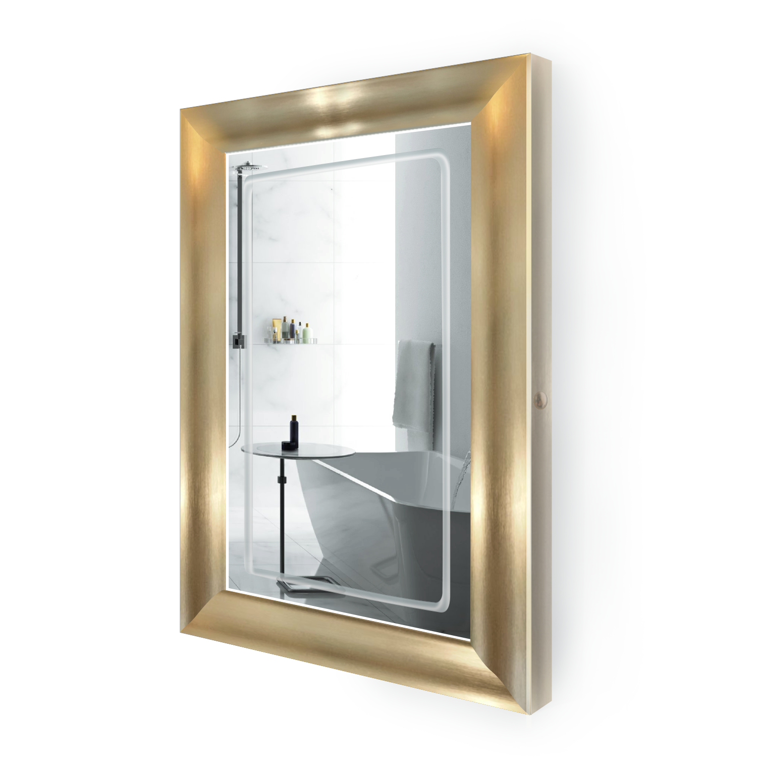 LED Lighted 24 Inch x 36 Inch Bathroom Gold Frame Mirror with Defogger