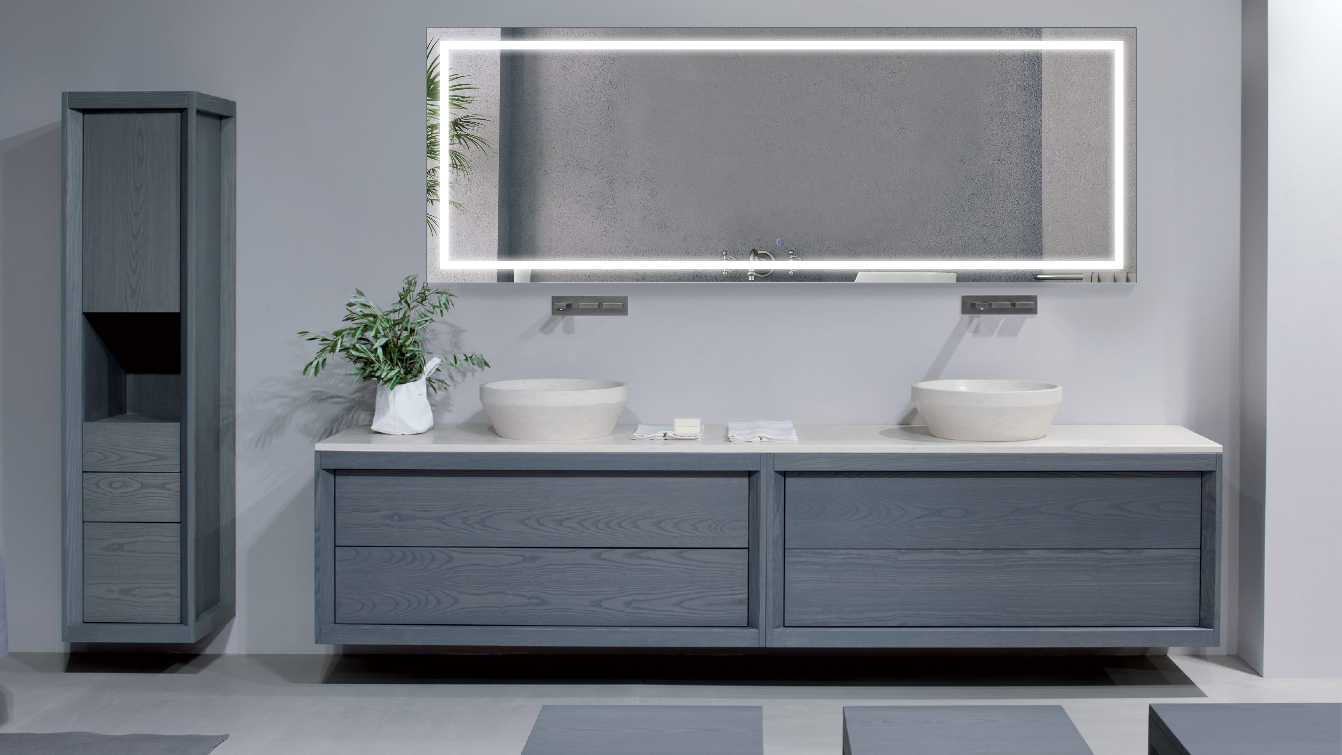 Large 84 inch x 30 inch led bathroom mirror lighted vanity mirror includes dimmer defogger for Bathroom vanity mirror with built in lights