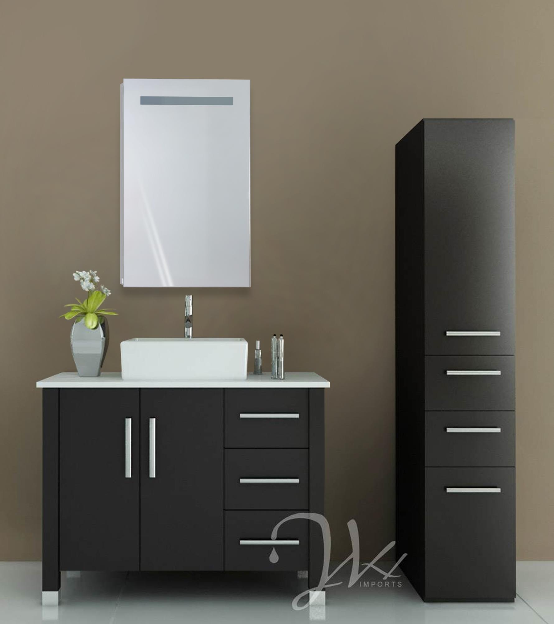 Sliding mirror cabinet bathroom