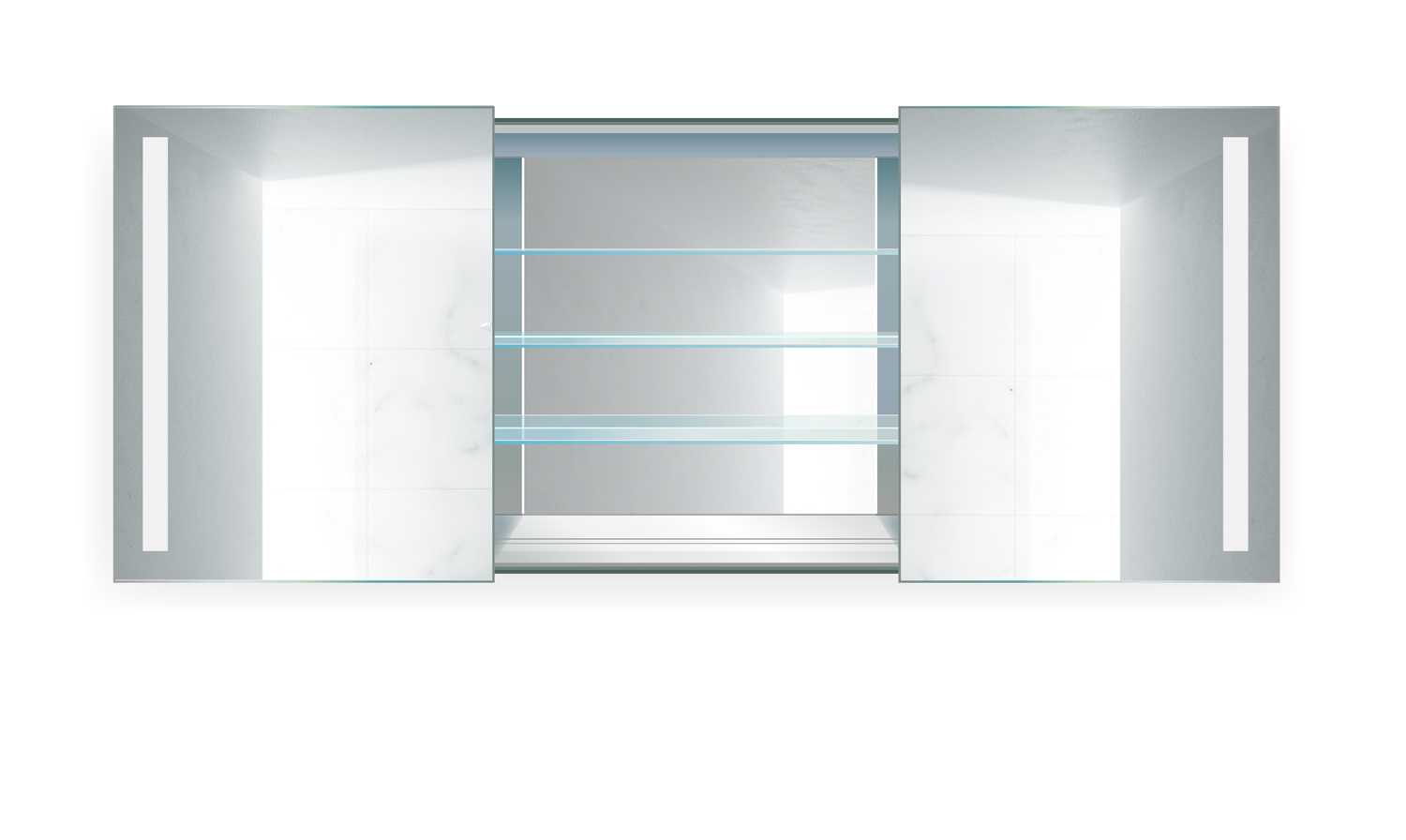 Rolls48 LED Medicine Cabinet 48 Inch X 30 Inch | Lighted 2 Sliding Mirror  Doors U0026 Defogger + 3 Glass Shelves ...
