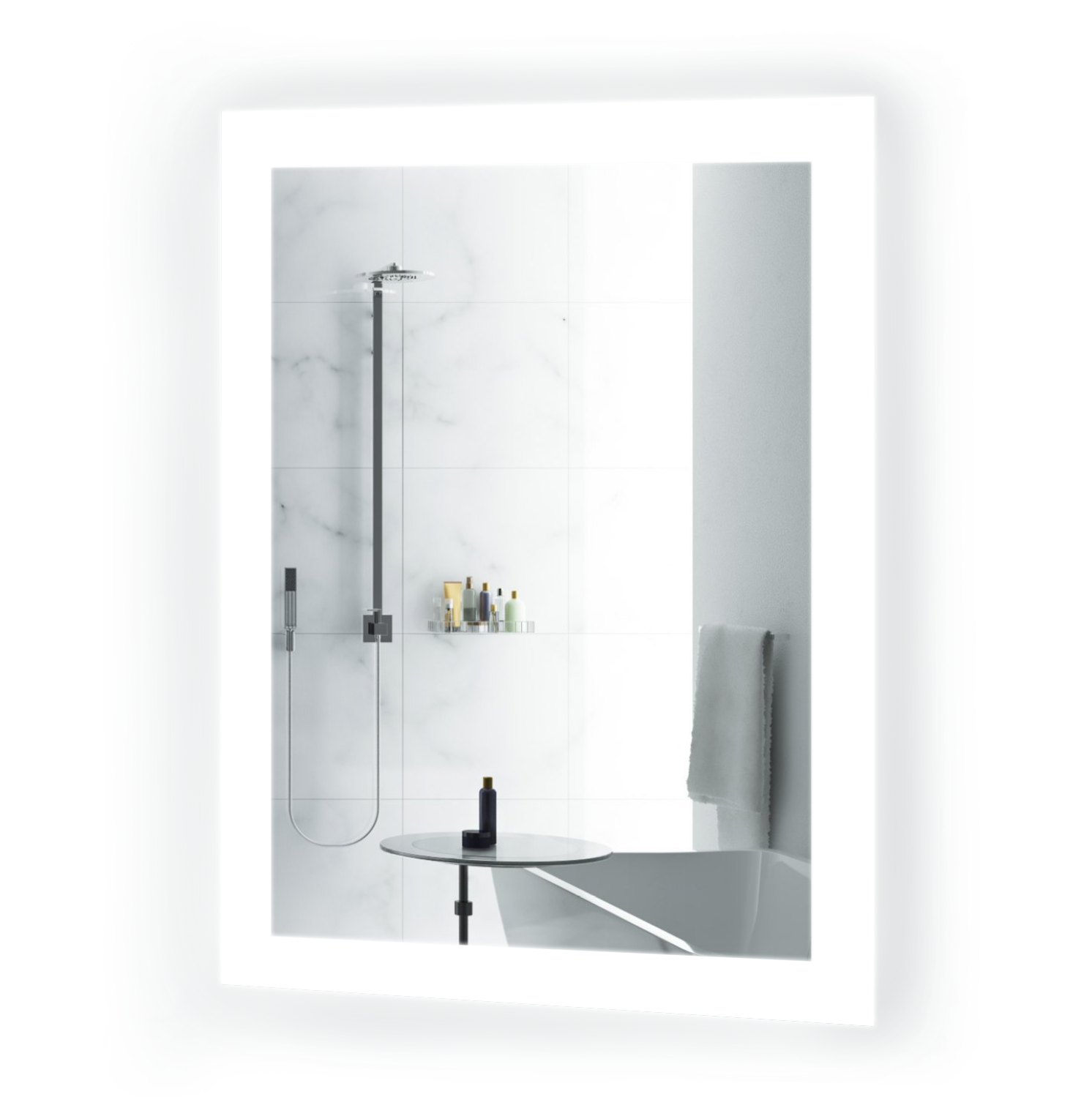 Bijou Small LED Bathroom Mirror 15 Inch x 20 Inch | Lighted Vanity Mirror Includes Dimmer & Defogger Wall Mount Vertical or Horizontal Installation |