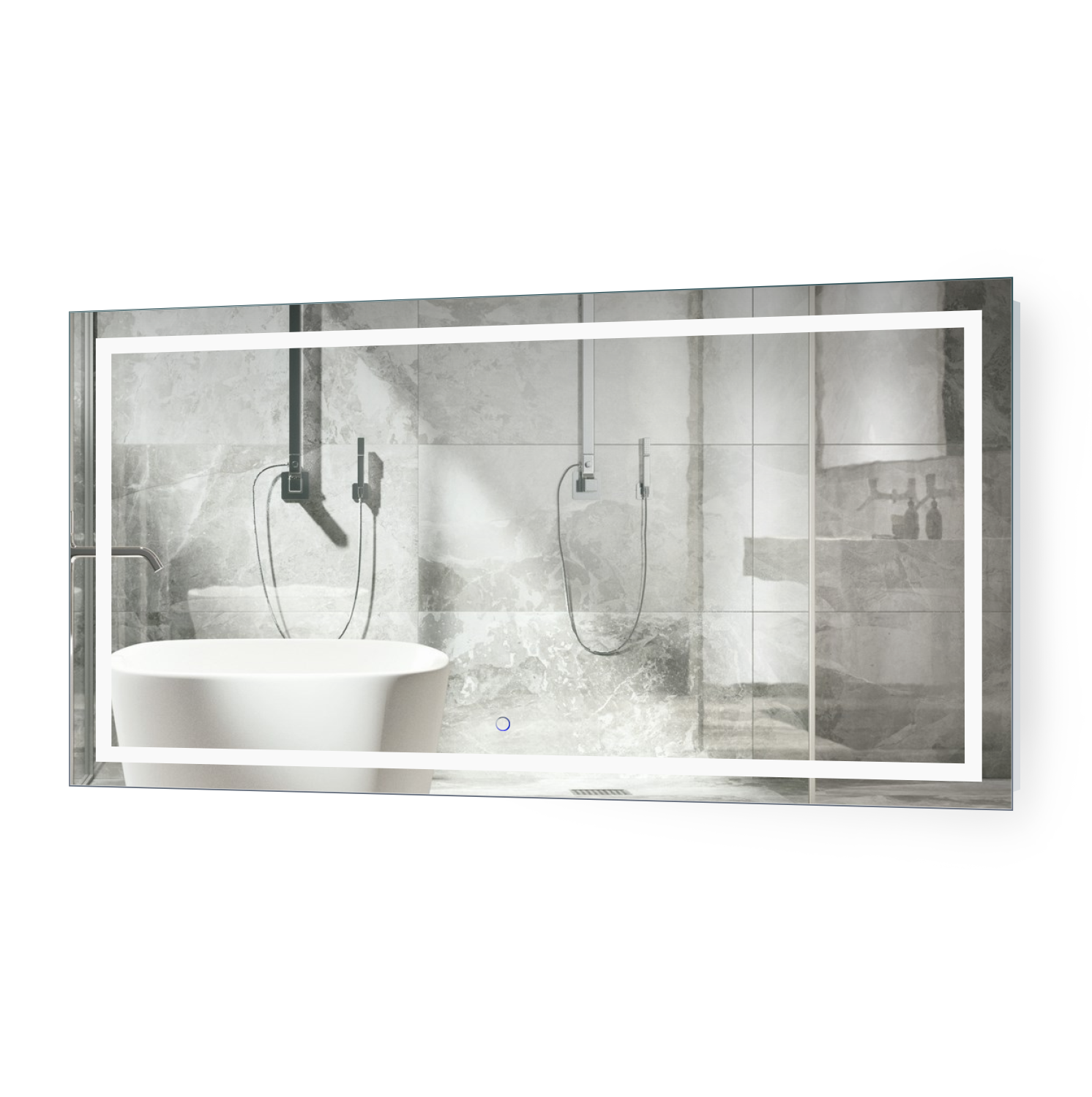 Icon 54 X 24 Led Bathroom Mirror W Dimmer Defogger Lighted Vanity Mirror Krugg Reflections Usa