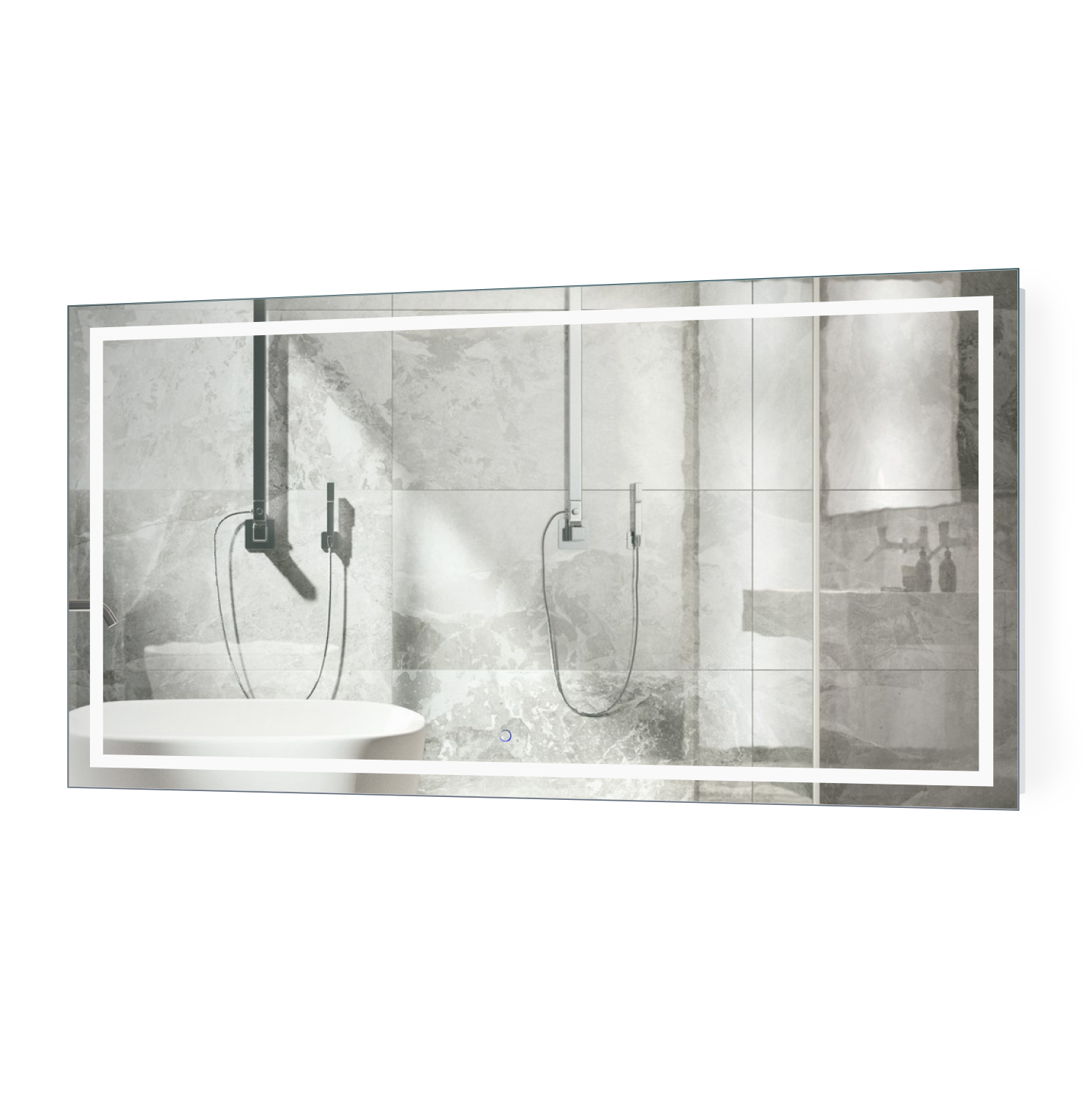 Icon 66 X 36 Led Bathroom Mirror W Dimmer Defogger Large Lighted Vanity Mirror Krugg Reflections Usa