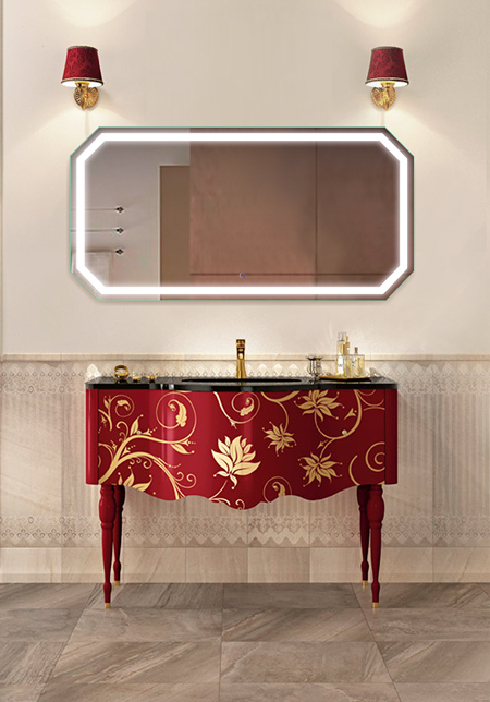 Tudor 60″ X 36″ LED Bathroom Mirror w/ Dimmer & Defogger |  Large Octagon Lighted Vanity Mirror