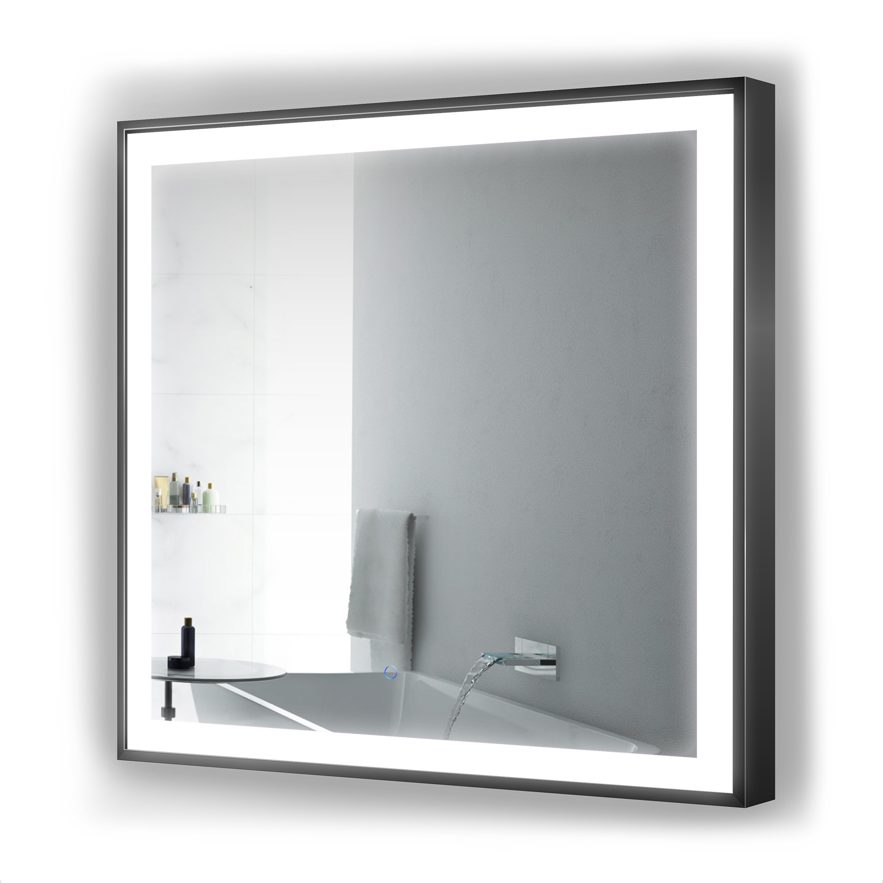 Krugg Soho LED Bathroom Mirror 36″ X 36″ Black